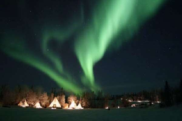 Shangrala's Northern Lights Over Teepees
