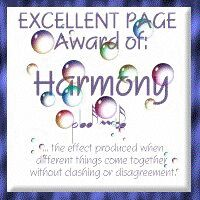 Harmony Award for Web Page Excellence!